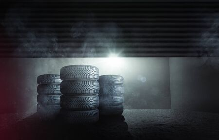 Car tires in a garage Фото со стока