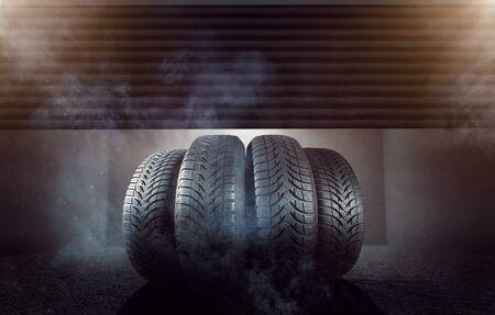 Car tires in a garage 版權商用圖片