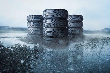 Car tires on a wet road 版權商用圖片