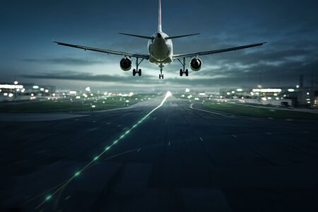 Airplane landing in the night