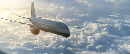 Airplane fly over the clouds