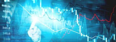 Trading graph finance Stock Photo