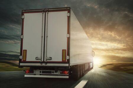 Truck on the road Foto de archivo - 130136952
