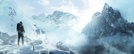 Hikers on snowy mountain peak