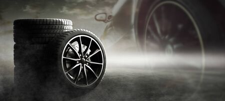 Sport car tire on the road