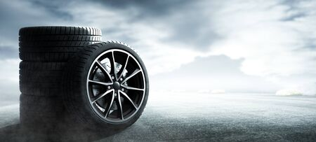Car tire on the foggy road
