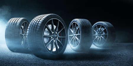 Car tires on street