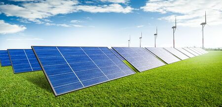 Solar and wind farm renewable energy