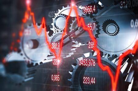Economic crisis with mechanic gears 免版税图像