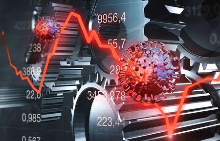 Economic crisis with mechanic gears and virus 免版税图像