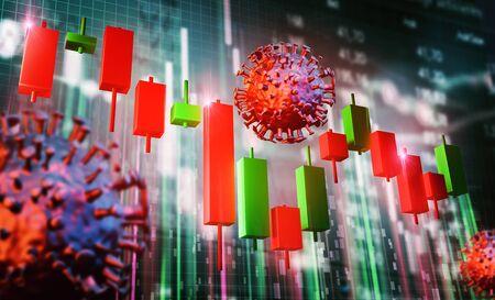 Stock chart - stock market crash - bull market