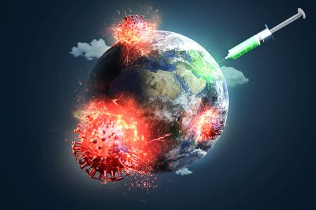Abstract of virus pandemic vaccine 免版税图像