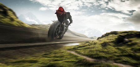 Motorbike rides in the sunrise