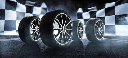 Car tires are on a street 免版税图像