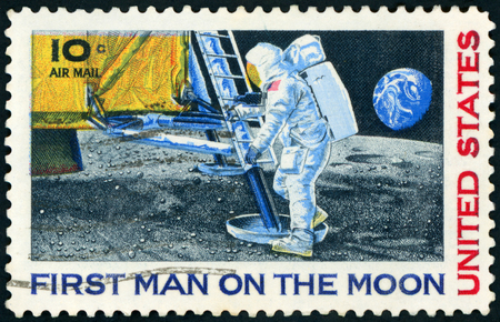 Sello de correos (los EEUU 1969 el 1r aterrizaje de Manâ en la luna, Apolo 11) Foto de archivo - 78724209