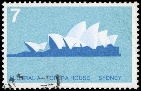 Postage Stamp : AUSTRALIA - 1973, Cancelled postage stamp from Australia illustrating opening of the Sydney Opera House, issued in 1973. Editorial