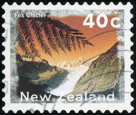 Postage stamp - New Zealand (Fox Glacier) Stock Photo