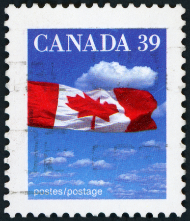 Postage stamp - Canadian flag Editorial