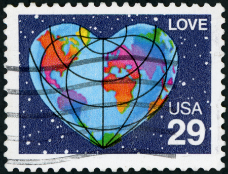 postmark: Postage stamp (USA - Love) Editorial