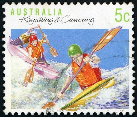Postage stamp ( Australia - Kayaking&Canoing ) Editorial