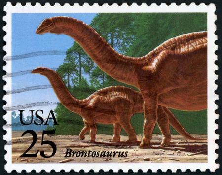 Postage stamp ( USA - Brontosaurus )