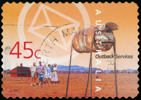 Australian Postage stamp - Outback Редакционное