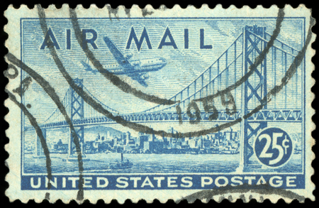 Postage stamp - US Air mail Editorial