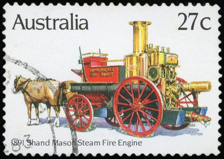 Postage stamp - Australia -Steam fire engine