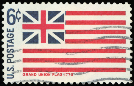US Postage stamp - Grand Union Flag 1776 Stock Photo