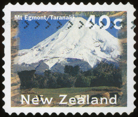 NEW ZEALAND - CIRCA 1996: A stamp printed by New Zealand, shows Scenic Views Type, Mt. Egmont, Taranaki, circa 1996