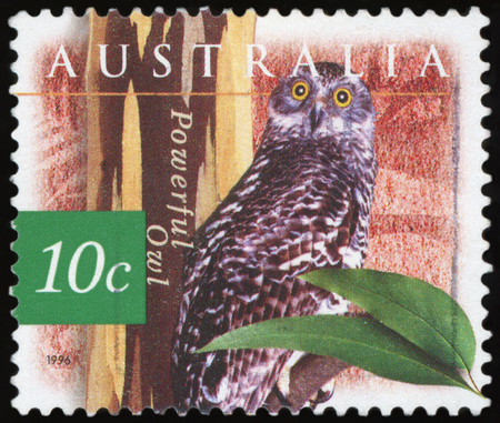 AUSTRALIA - CIRCA 1996:A Cancelled postage stamp from Australia illustrating Powerful Owl, issued in 1996. Stock Photo
