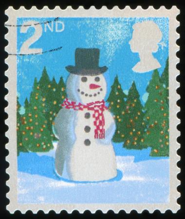 UNITED KINGDOM - CIRCA 2006: A stamp printed in England, shows a snowman, circa 2006 Stock Photo
