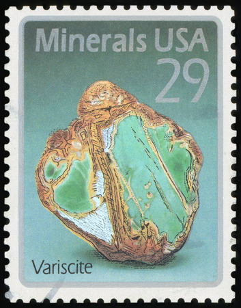 USA - CIRCA 1992: A stamp printed in United States of America shows Variscite, circa 1992