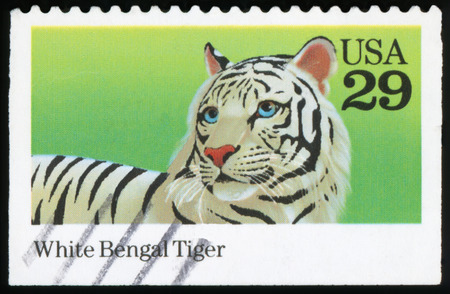 USA - CIRCA 1992: A stamp printed in United States of America shows White Bengal Tiger, circa 1992