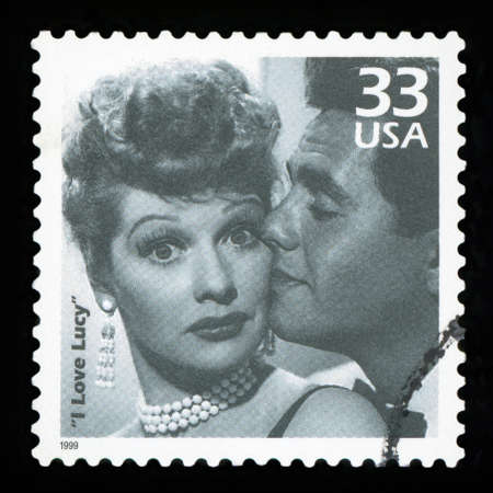 UNITED STATES - CIRCA 1999: a postage stamp printed in USA showing an image of TV comedy I Love Lucy, circa 1999. Editorial