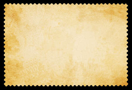 Blank postage stamp - Isolated on Black Banque d'images
