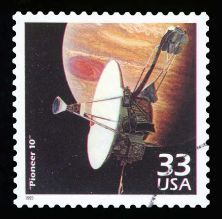 UNITED STATES OF AMERICA - CIRCA 1999: a postage stamp printed in USA showing an image of Pioneer 10 a robotic space probe that completed the first mission to Jupiter in 1972, circa 1999.