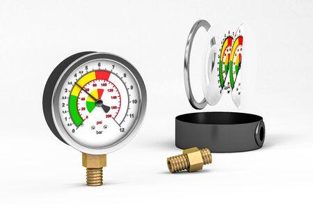 Pressure gauge for measuring water pressure 3D render