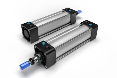 Double-acting pneumatic piston cylinder. Isolated on white. 3D render.
