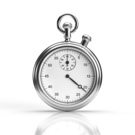 Chrome stopwatch. Isolated on white with reflection. 3d render. Reklamní fotografie