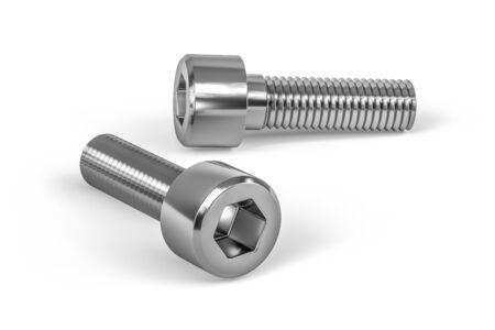 Stainless steel hexagon socked screw isolated on white background - 3d render Imagens