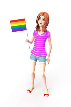 Young girl standing with lgbt rainbow flag in her right hand isolated on whit Stock fotó