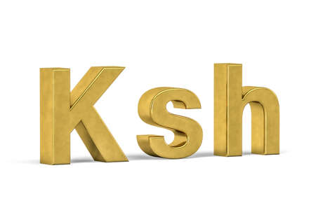 Golden Kenyan shilling sign isolated on white background - 3d render