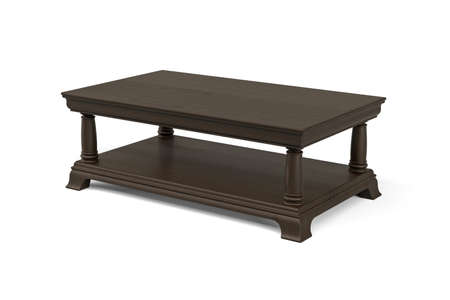Coffee table made of dark carved wood on four legs isolated on white background - 3d render