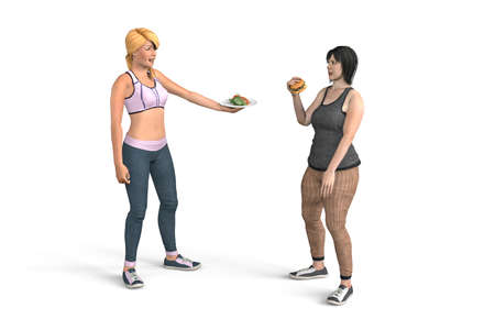 The girl tries to eat a hamburger and her friend pulls her a plate of vegetables and persuades her to eat healthy - isolated on white background - 3D Illustration Foto de archivo