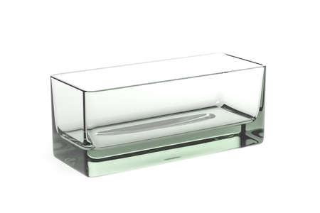 Low rectangular glass vase isolated on white - 3d render