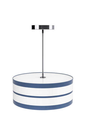 Ceiling lamp with blue and white striped lampshade isolated on white background - copy space - 3D render