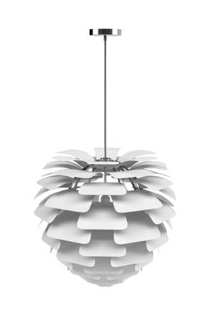 Modern ceiling lamp on white background - copy space - 3D render