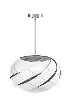 Ceiling lamp with a ball shaped white fabric shade on a white background - copy space - 3D render Reklamní fotografie