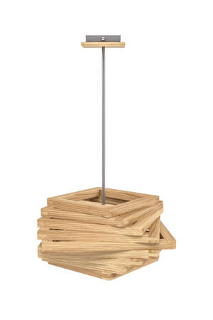 Ceiling lamp with wooden lampshade isolated on white background - copy space - 3D render